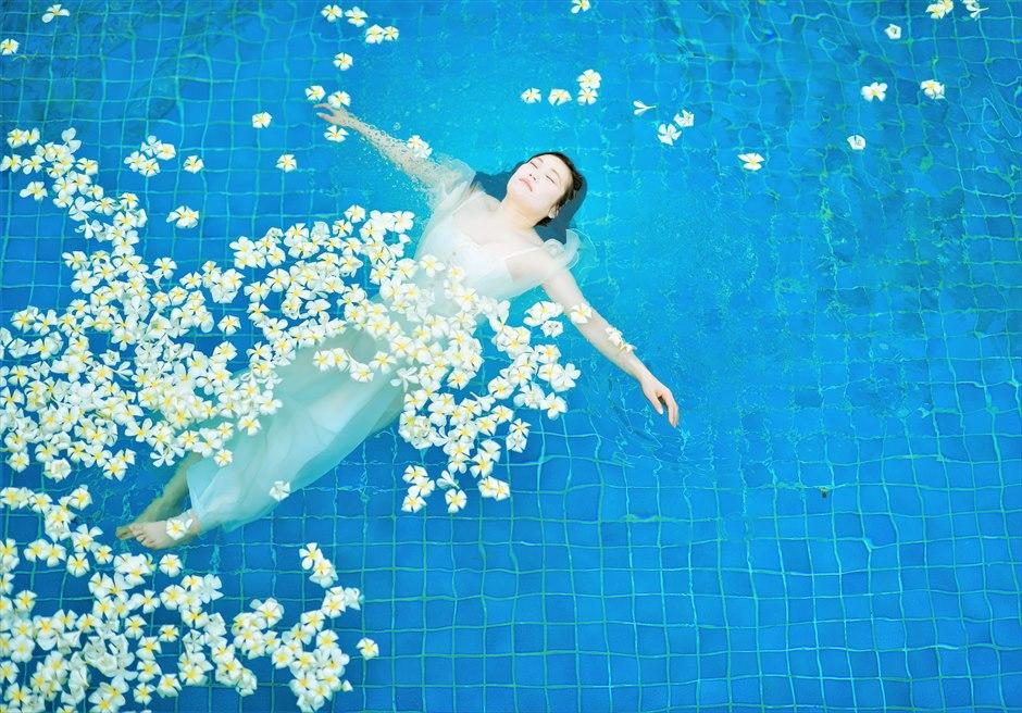 バリ島ウェディング・フォト・オプション/ 生花プリメリア 白・黄・ピンク選択可/ ¥18,000