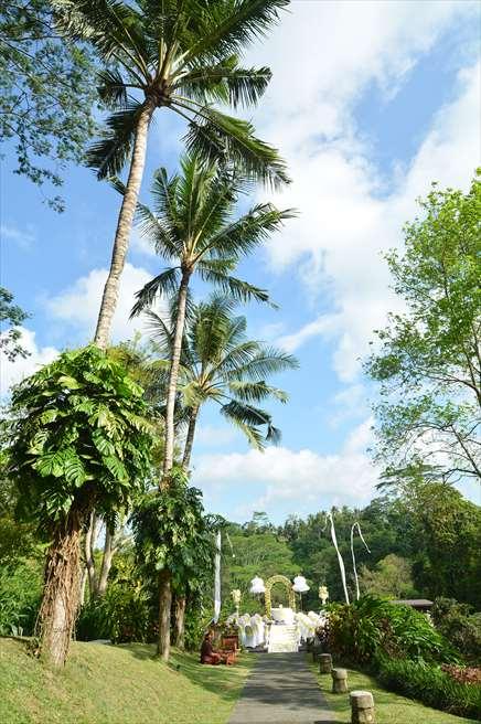 マヤ・ウブド・リゾート&スパ ジャングルに囲まれた挙式会場への長い道 渓谷に落ちる広大な景色を望む