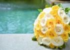 フォーシーズンズ・サヤン挙式生花のブーケ&ブートニア ホワイト&イエロー・ローズ