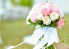 フォーシーズンズ・サヤン挙式生花のブーケ&ブートニア ピンク&ホワイト・ローズ