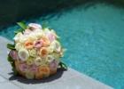 フォーシーズンズ・サヤン挙式生花のブーケ&ブートニア ピンク&オレンジ&ホワイト・ローズ
