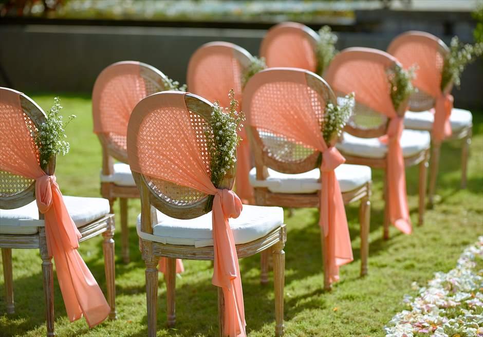 プレジデンシャルスイートヴィラ ビーチフロント・ガーデンウェディング ラスティック・スタイル基本装飾 セレモニーチェア装飾