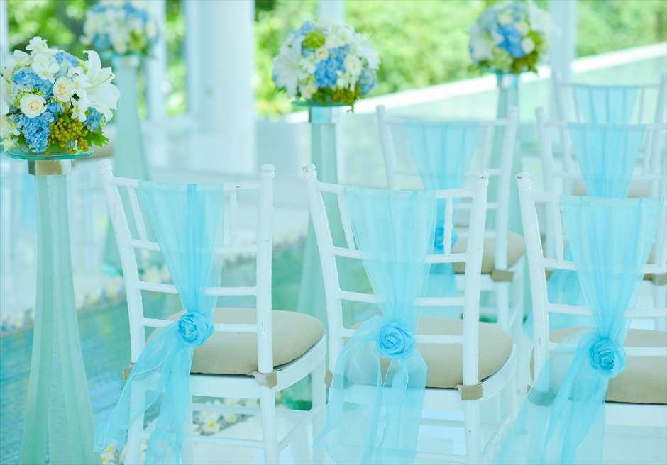 ブレス・バリ・オリジナル オール・ブルー・イン・アスティナ・チャペル<br /> ウェディングチェア ブルーオーガンジー装飾