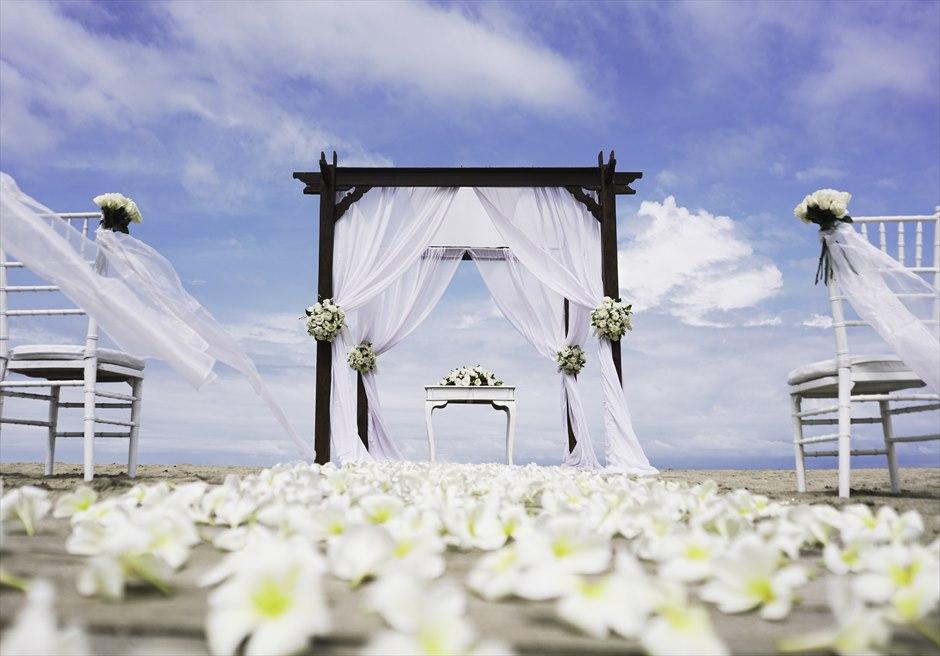 ビーチウェディング  挙式会場基本装飾A 生花のフルフラワーバージンロード