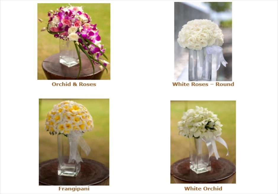 コンラッド・インフィニティ・チャペル│ 生花ブーケ&ブートニア│ 4種類からお選びいただけます