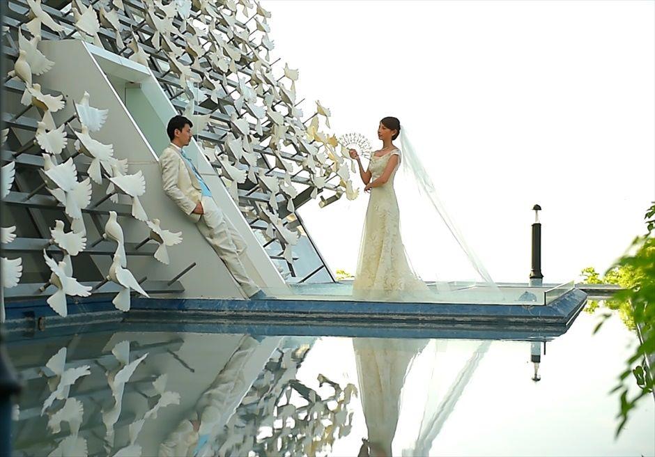 バンヤン・ツリー・ウンガサン ザ・ホワイト・ダブ・チャペル オール・ブルー 挙式後チャペル撮影