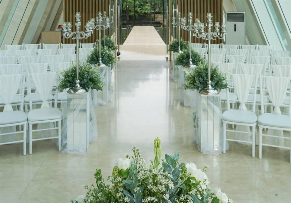 コンラッド・インフィニティ・チャペル │2018年装飾 ピンク&グリーン │生花挙式会場装飾