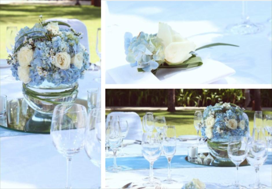 コンラッド・ウェディングパッケージ<br /> ウェディングパーティー(コースメニュー)<br /> 4種類のテーブル装飾より選択可(ブルー)