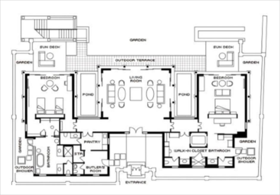 フォーシーズンズ・リゾート・ジンバラン インペリアル・ヴィラ レイアウト2階