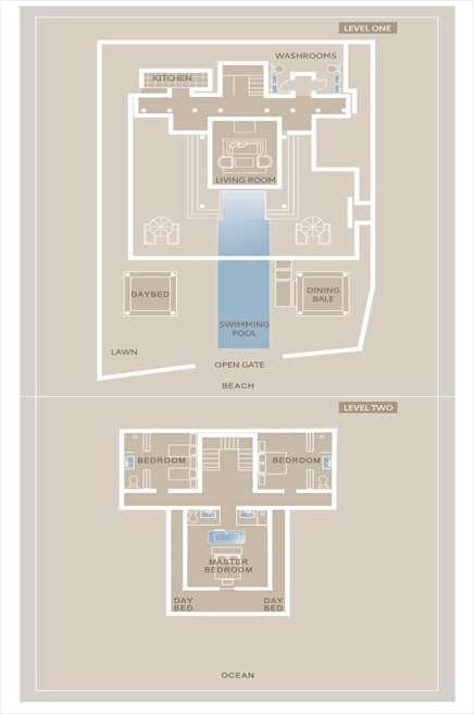 ザ・レギャン・バリ ビーチハウス レイアウト<br /> プライベートプール付の3ベッドルームヴィラ