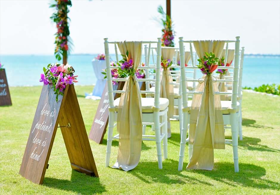 フォーシーズンズ・ジンバラン・バリ挙式 ガーデン・ウェディング ティファニーチェア装飾