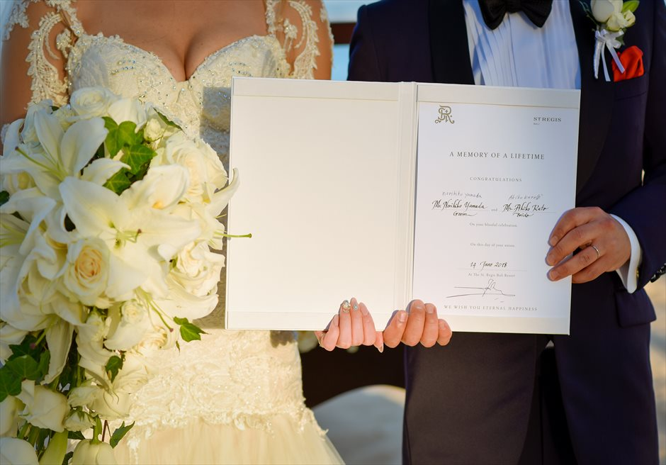 セント・レジス・バリ エレガント・ビーチウェディング 結婚証明書