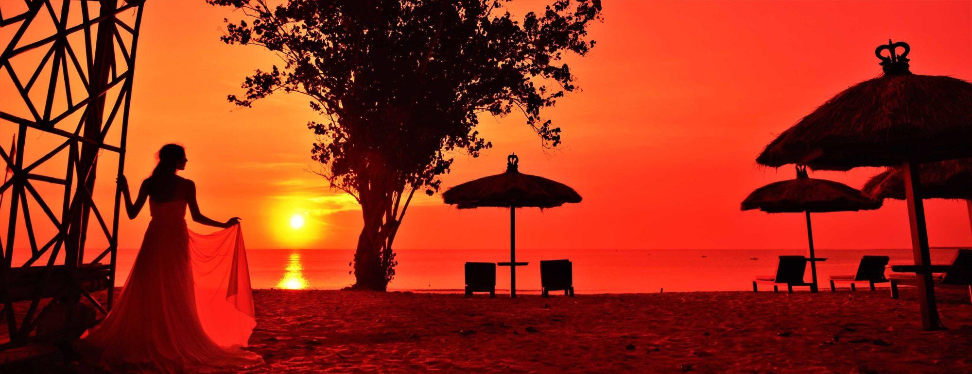 バリ島サンセット・ビーチ・フォト・ウェディング ジンバラン・ビーチ・サンセット Belmond Jimbara Puri Bali Sunset Photo Wedding