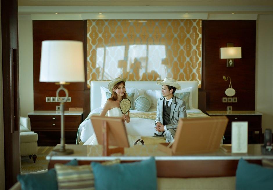 サマベ・バリ・スイート&ヴィラズ2ベッドルームペントハウスプールヴィラベッドルームにて