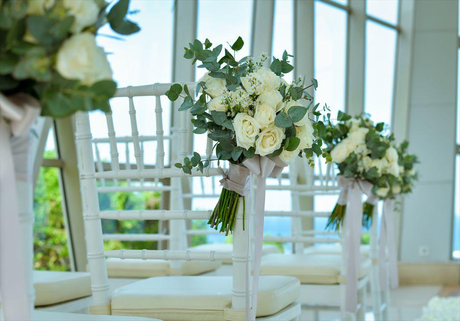 サマベ・バリ結婚式 パール・チャペル挙式・アップグレード・ウェディング アイル・サイド生花装飾