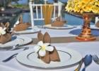 ザ・シャンティ・レジデンス・ヌサドゥア プールデッキ・ウェディング・レセプション バリニーズ・デザイン テーブル装飾