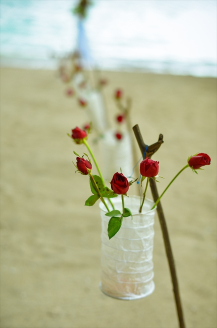 アマンワナ アイランド・ビーチウェディング 生花のスタンドフラワー
