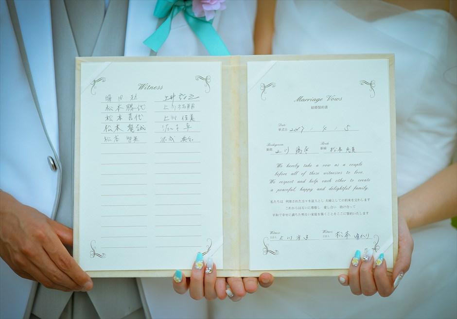 ヴィラ55・リマリマ・ヌガラ<br /> オーシャンフロント・レジデンス・ジェゴッグ・ウェディング<br /> 結婚証明書への署名
