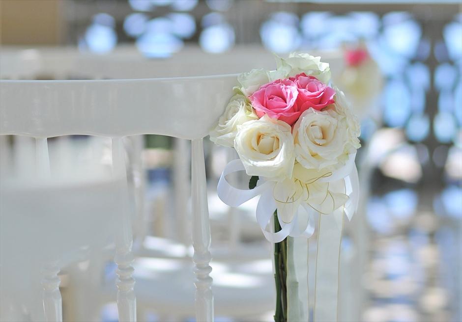 ザ・ムリア・バリ挙式 ハーモニー・チャペル・ウェディング ピンク&ホワイト ティファニーチェア装飾