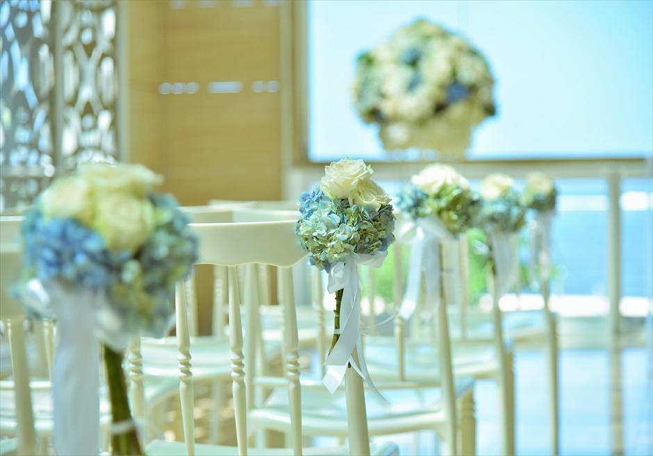 ザ・ムリア・バリ挙式 ハーモニー・チャペル・ウェディング ブルー&ホワイト ティファニーチェア装飾