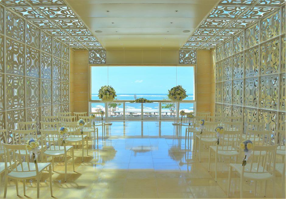 ザ・ムリア・バリ ハーモニー・チャペル・ウェディング ブルー&ホワイト基本装飾 挙式会場全景