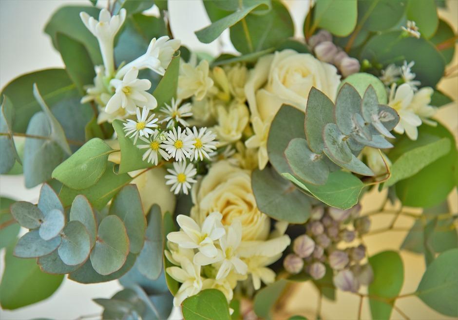 ボタニカル・ウェディング 祭壇センターピースフラワー 高級花材&グリーンリーフを使用