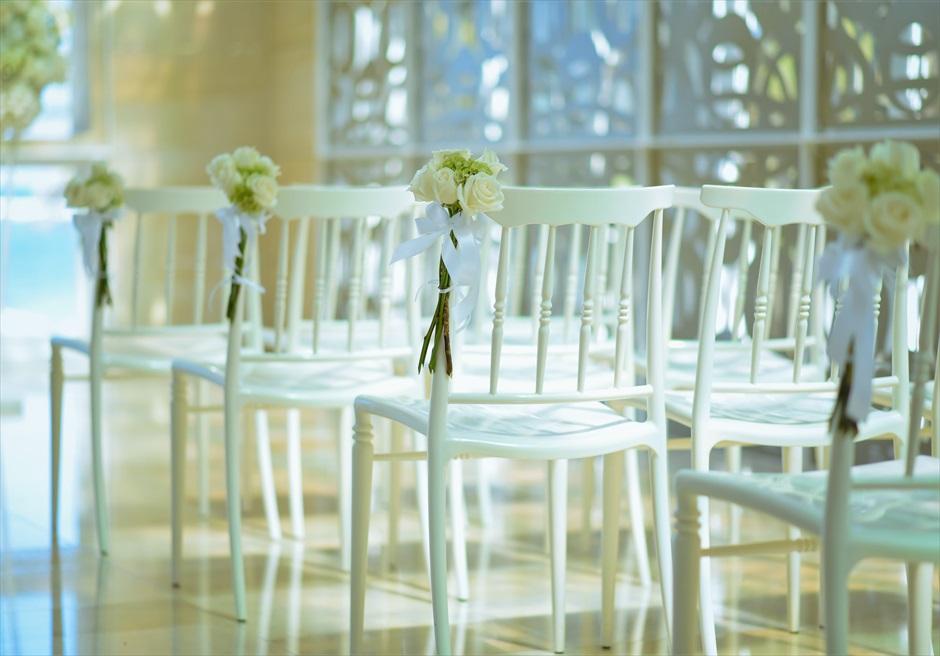 ザ・ムリア・バリ挙式 ハーモニー・チャペル・ウェディング グリーン&ホワイト ティファニーチェア装飾