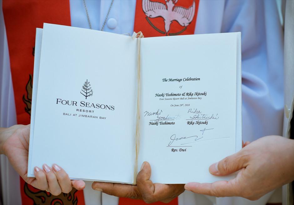 フォーシーズンズ・バリ・ジンバラン 結婚証明書・挙式・ウェディング