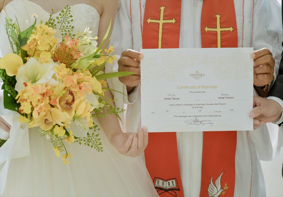 アナンタラ・ウルワツ挙式 結婚証明書