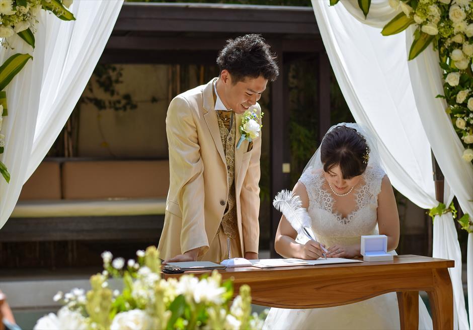 ヴィラ・アイル・バリ 結婚証明書サイン