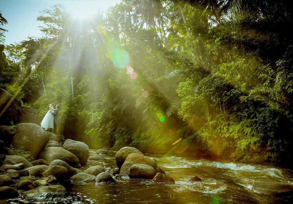 バリ島ウェディング・フォト【ウブド】/ フォーシーズンズ・リゾート・サヤン/ アユン川 神々しい木漏れ日が差し込む